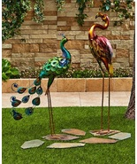 Colorful Metal Birds Beautiful Yard Art Outdoor Peacock Rooster Flamingo... - $22.98+
