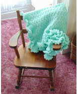 Hand Crocheted Ruffled Baby Blanket in Mint Green - $67.00