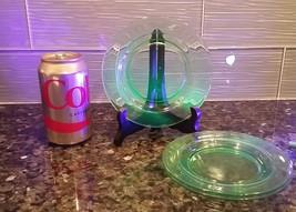 "Set Of 3 Green Vaseline Uranium Depression Glass 6"" Bread Dessert Plates - $34.65"