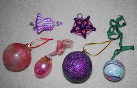 Christmas Ornaments LOT Pink Purple Vintage Handmade Holiday Decor - $13.32