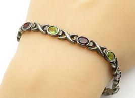 925 Sterling Silver - Vintage Garnet & Peridot XO Link Chain Bracelet - ... - $49.85