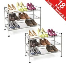 Seville Classics 3-Tier Stackable 9-Pair Steel Mesh Shelf Sturdy Metal Frame Sho