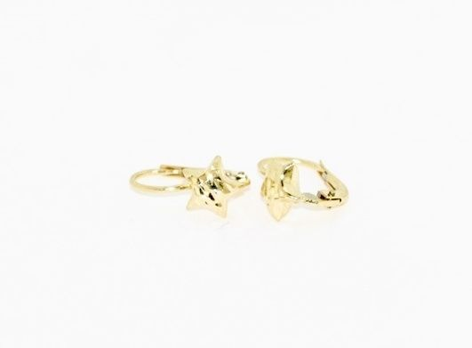 18K YELLOW GOLD EARRINGS WITH VERY SHINY STAR WORKED MADE IN ITALY O.59 INCHES