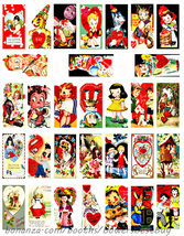 "vintage Valentines cards clip art domino collage sheet 1"" X 2"" inch grap... - $3.99"