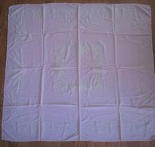 Vintage Pink Tablecloth~White Flocking~Retro Cottage Romantic Shabby Chi... - $12.50