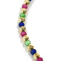 18K YELLOW GOLD BRACELET FACETED WORKED 2mm BALLS, BLUE GREEN RED CUBIC ZIRCONIA image 2