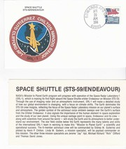 STS-59 ENDEAVOUR SRL-1 EDWARDS AFB CA APRIL 20 1994 WITH INSERT CARD - $1.98