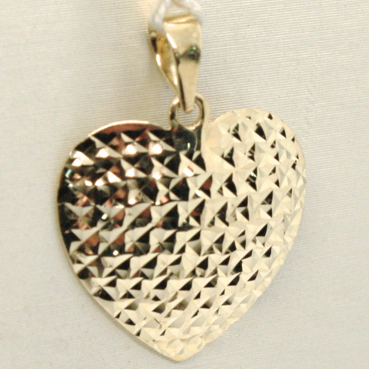 18K YELLOW GOLD HEART PENDANT, CHARMS, FINELY WORKED, CURVED, MADE IN ITALY
