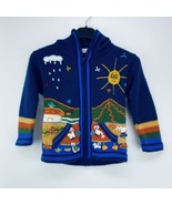 Monica's Collection Child's M/L Jacket Zip Up Peru 3D Llamas Blue B6 - $19.99
