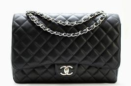 CHANEL Black CAVIAR Leather CLASSIC MAXi Double Flap Bag SH AUTHENTICATED - $4,339.44
