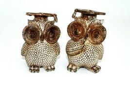 Set of 2 owl Figurines shelf sitters Home Decor statue miniature birds a... - $15.49