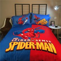 SPIDER MAN Super Hero Cartoon BLUE Color 4 pcs COTTON BED SHEET Bedding ... - $88.00