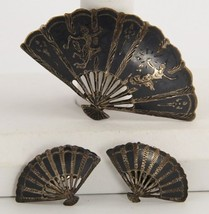 VINTAGE Jewelry SIAM STERLING SILVER FAN SET BROOCH & CLIP EARRINGS - $33.75