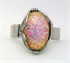 Vintage Glass Opal Stainless Steel Wire Wrap Ring 12 - $10.30