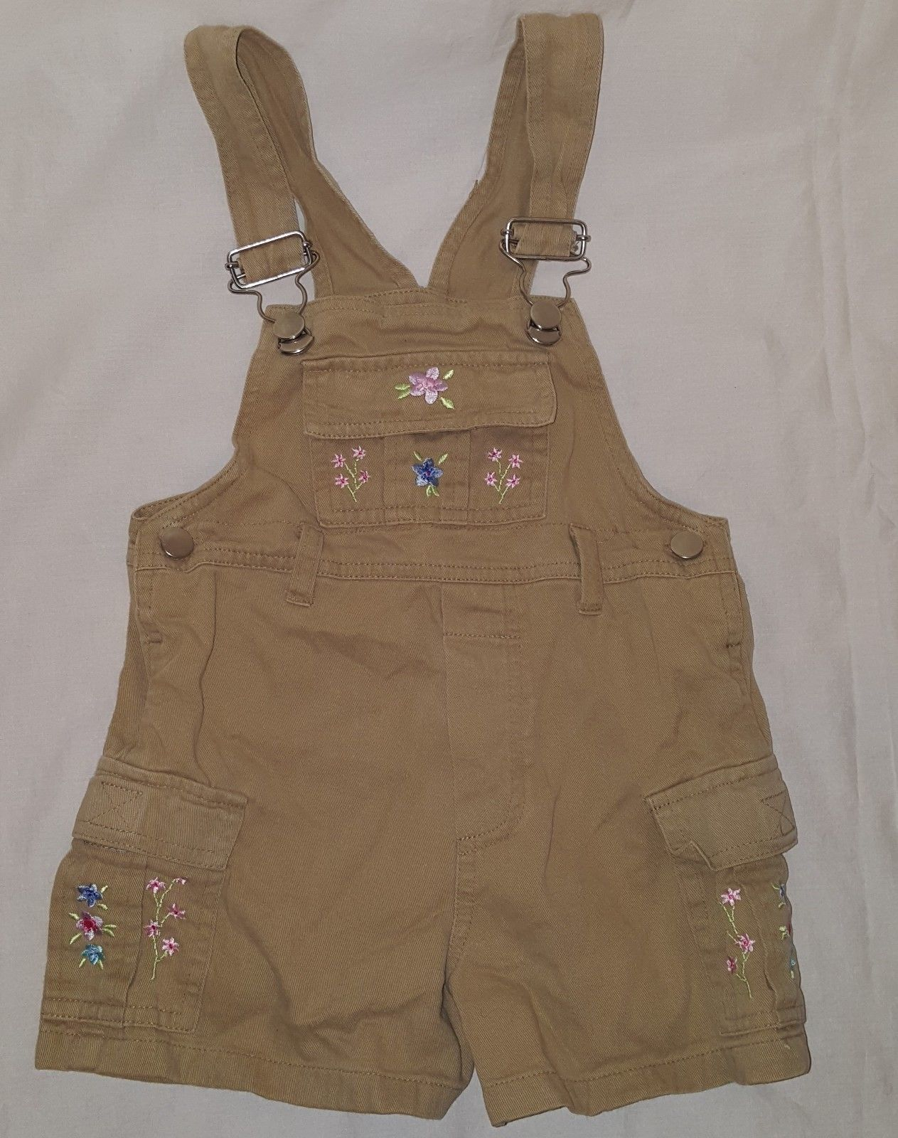 Overalls Shorts Flowers  Size 2T 24 Months One Piece Girls Beige Pink Kiks