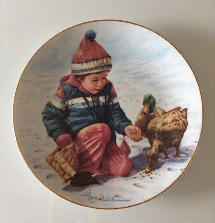 "1985 Hamilton Collection ""A Handful of Love"" Child Feeding Ducks Collector Plate"