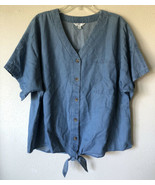 Time And Tru Women's XXL 20 Cotton Lyocell Blue Button Tie Front Blouse ... - $11.77