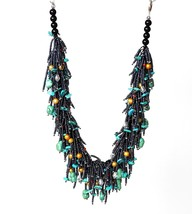 Turquoise and Freshwater Pearls Necklace with Black Seed Beads, High Fas... - $400.00