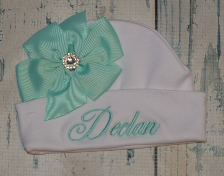 Primary image for Personalized Newborn Girl Beanie Hat with Aqua Bow
