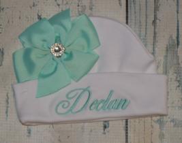 Personalized Newborn Girl Beanie Hat with Aqua Bow  - $15.00