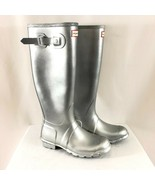 Hunter Womens Rain Boots Original Tall Cosmic Rubber Silver Glitter Size 8 - $96.74