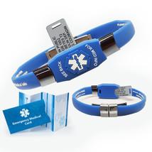 Waterproof ELITE Medical Alert ID Bracelet, 10 lines engraving (Blue) - $41.95