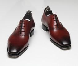 Handmade Men's Brown Toe Burnished Heart Medallion Dress Oxford Leather Shoes image 3