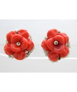 Miriam HASKELL Red White Glass Flower Bead Beaded Clip On Earrings Vintage - $123.74