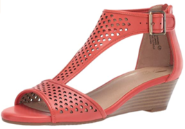 Aerosoles Sapphire Size 7 M EU 37.5 Women's Leather T-Strap Wedge Sandals Orange - $56.38