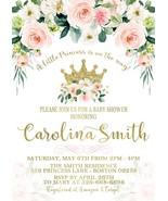 Princess Baby Shower invitation, Blush Pink and Gold Floral Princess Inv... - $0.99