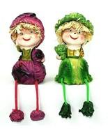 Shelf Sitter Set Figurine Cabbage Lettuce Dangling Home Kitchen Decor Ve... - $16.99