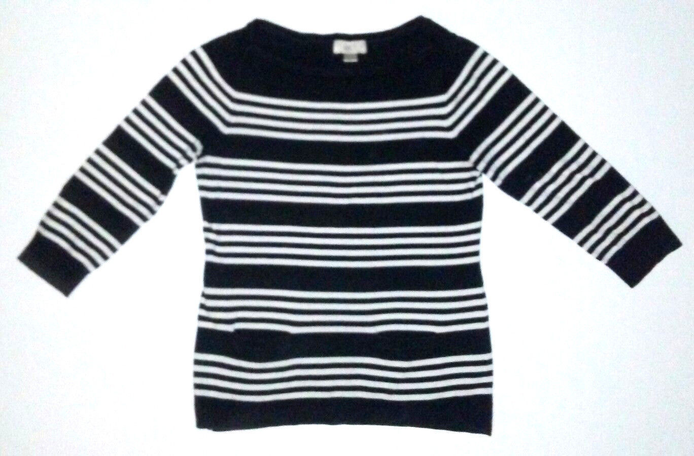 0ed36862365 57. 57. Previous. Ann Taylor Loft Women s Black White Striped 3 4 Sleeve  Sweater Size Small