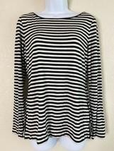 Premise Studio Womens Size M Black & White Striped Blouse Long Sleeve - $11.88