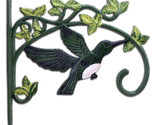 Green Hummingbird Large Plant Hanger Cast Iron Flower Basket Hook