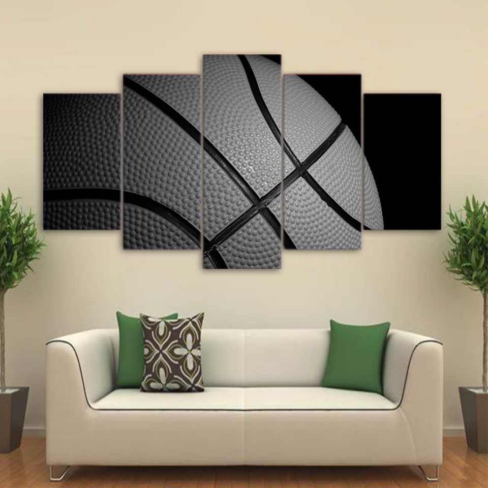 Basketball Sports Canvas Wall Art For Boys Bedroom Decor: Basketball Black And White Sports 5 Piece Canvas Art Wall