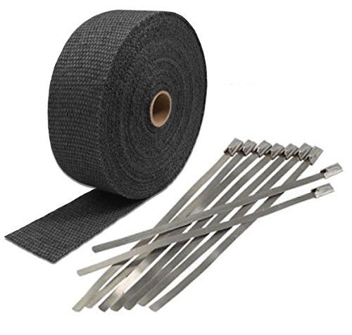 "Chevrolet 1"" x 50' Protection Header Exhaust Heat Wrap black with 8 Steel Tie - $14.80"