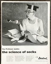 1955 Durene Cotton Yarn PRINT AD Professor Studies the Science of Socks - $11.89