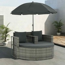 vidaXL Patio Sofa Set w/ Parasol Poly Rattan Wicker Gray Outdoor Sun Day... - $243.99