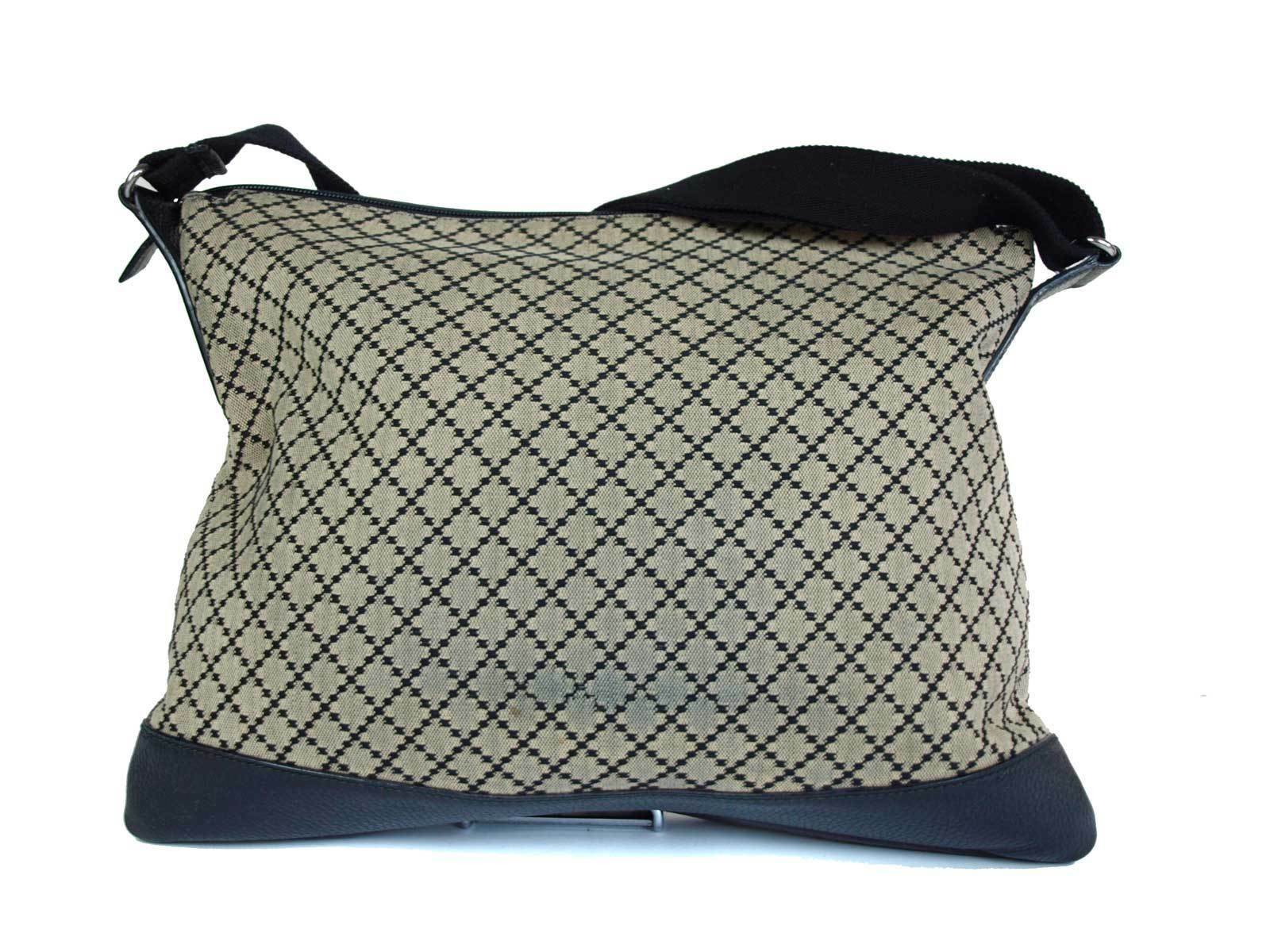 Auth GUCCI Diamante Canvas Leather Black Cross-Body Shoulder Bag GS1762