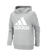 adidas Big Boys Logo-Print Cotton Hoodie Grey Heather S 8 - $29.99