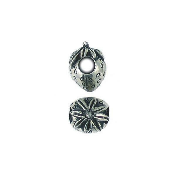 STRAWBERRY LARGE HOLE FINE PEWTER BEAD - 12mm  x 15 mm x 11mm, 4.8mm Hole