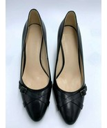"""Cole Haan Grand OS 8.5 Black Lena Buckle II Pumps Heels Shoes Leather 3"""" - $64.99"""