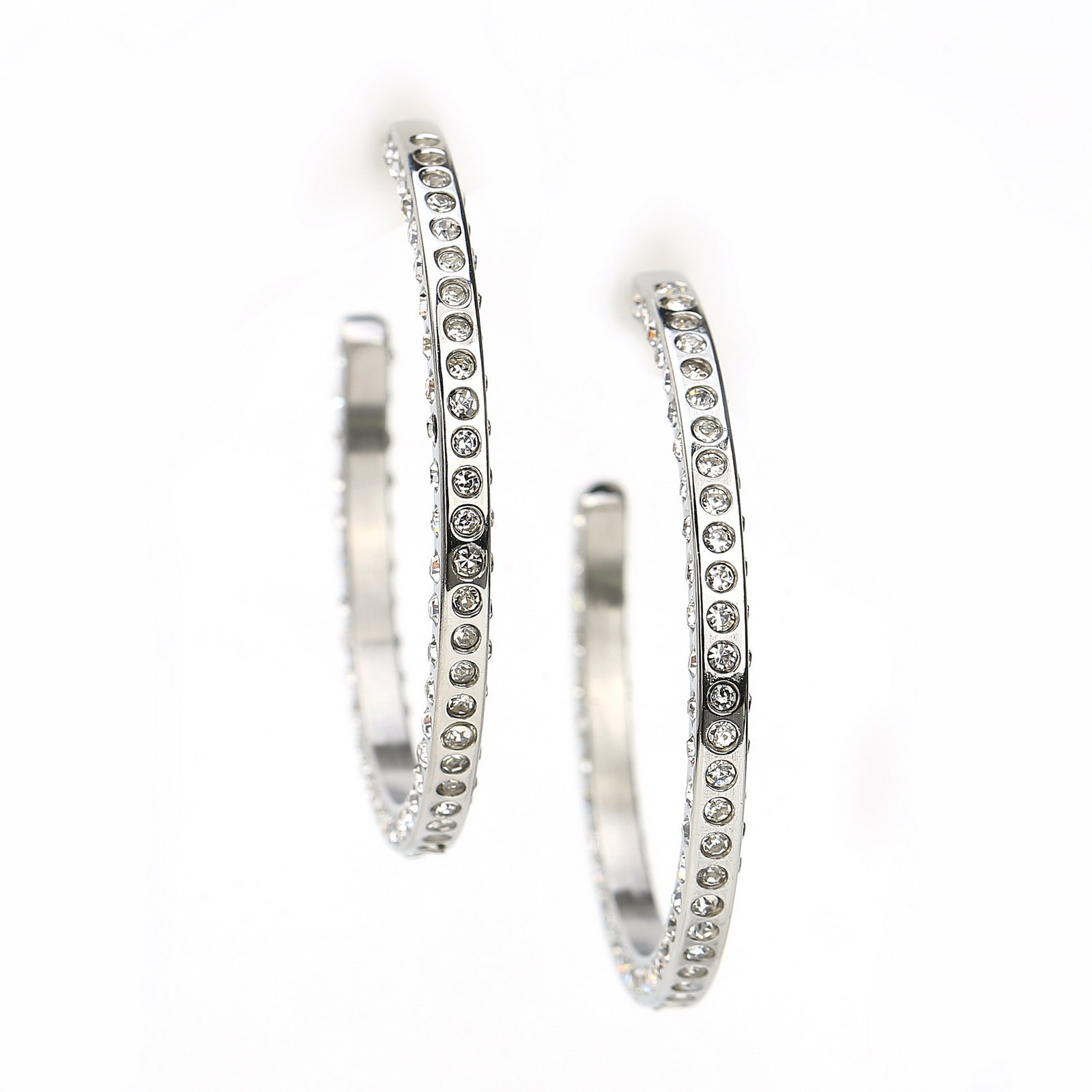UNITED ELEGANCE Silver Tone Hoop Earrings With Dazzling Swarovski Style Crystals image 3