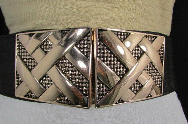 Nero,da Donna Elastico Moda Cintura Vita Metallo Oro Strisce Fibbia Quadrata S M image 10