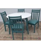 Country Farmhouse Wood Kitchen/Dining Table+4 teal chairs with upholster... - $300.00