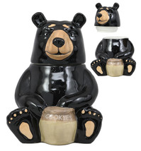 Rustic Wildlife American Black Bear With Honey Pot Ceramic Cookie Jar Fi... - $29.99