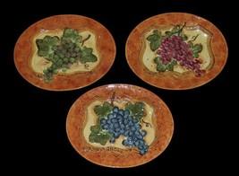 3 Susan Winget Embossed Wine Grapes Alsace*Burgundy*Rhone Oval Plates NEW NICE - $39.99