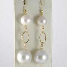 Yellow Gold Earrings 750 18k Pendants 6 cm, white pearls FW 12 mm diameter image 1
