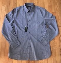 John Varvatos Mens Casual Shirt Button Large Grey Purple Stripe Longslee... - $37.15