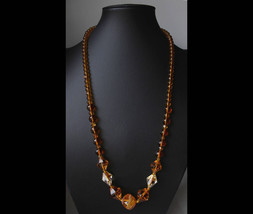 Art deco Long Czech necklace made of amber glass faceted crystal and two... - $56.00